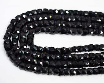 AAA Quality Natural BLACK SPINEL Box Faceted 4mm / 9 inch