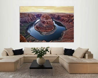Sunrise at Horseshoe Bend, Arizona with Colorado River, Grand Canyon Canvas Print, Canvas Print, Home decor, interior design, Wall art.