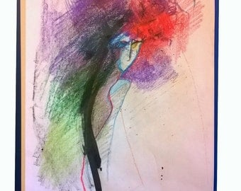 Эмоциональный женский портрет в цветных карандашах / Emotional female portrait in colored pencils