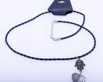 Heart and Hamza leather effect cord necklace/bracelet