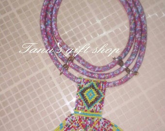 Maasai net necklace/ mesh jewelry.