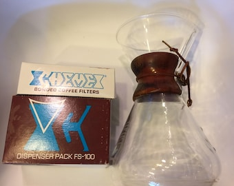 Vintage 10-cup Chemex with original filters in box