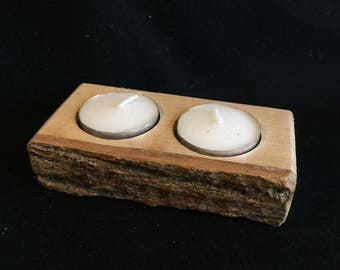 Handmade rustic double tealight candle holder.