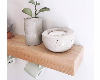 Round pot in concrete with scented candle - wholesale