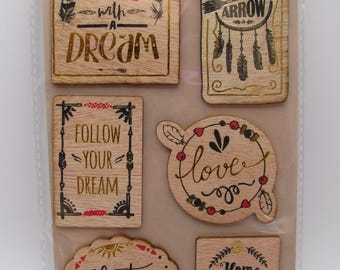 Wood stickers - feather - love - dream - home - adventure - indian
