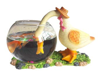 Decorative Glass Fish Bowl Aquarium Duck
