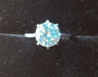 2,83ct blue moissanite and oxidized silver ring. Size 8
