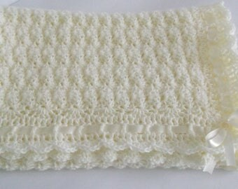 Crochet Baby Blanket / Afghan, Handmade Crochet Ivory Baby Blanket, Satin Ribbon Baby Shower Gift, Baby Girl and Baby Boy