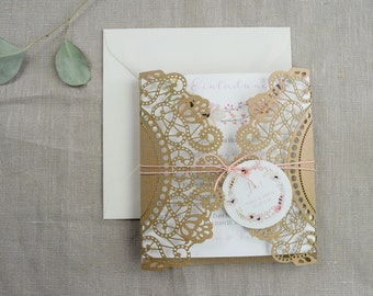 Vintage wedding invitation card 'Romance' Rosé