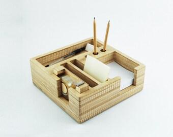 Desk organizer / Organiser / Desk tidy / Pen pot / Desk tray / Desk storage / Plywood organizer. Made in Ukraine.