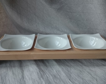 3 cat Bowl or dog bowl from massive beech wood and porcelain