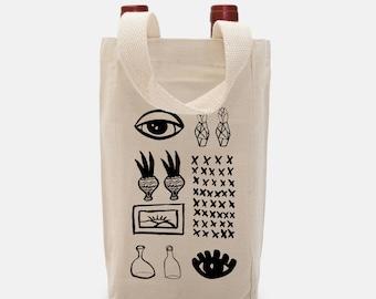 Double Wine Tote Gift Bag, Wine Tote Bag, Double
