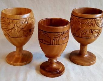 Vintage Tiki Carved Wooden Goblets, Alii Woods Honolulu