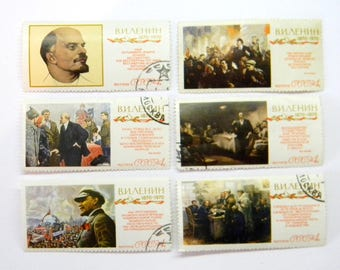 Set of 6 soviet stamps - Postage stamps - Stapms with Lenin - 1917 - Vintage stamps - USSR 70's.