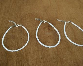 White single layer seed bead bracelet