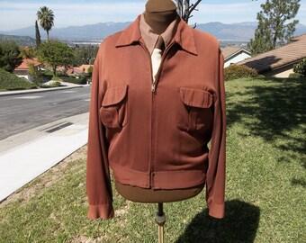 1940s 50s Mens vintage gabardine short jacket (ike-ricky)