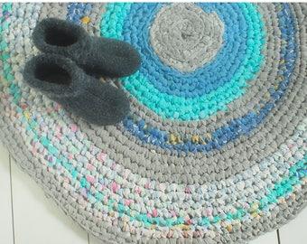 Blue hand made crochet rug, hand made carpet, eco rug, crochet rug, kidsroom rug, bohemian rug, round rug, nursery rug, bedroom rug