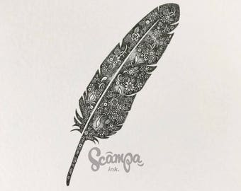 Original hand drawn, ink print illustration of a beautifully detailed feather. Framed