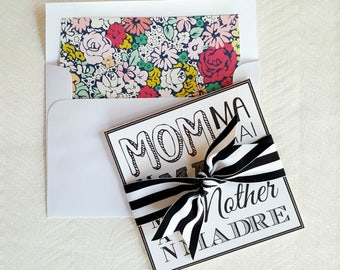 Script Birthday Card For Mom . Floral Mother's Day Card . Bow Mom Birthday Card . Square Mother's Day Card