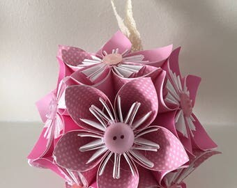 Small Kusudama Paper Flower Ball Ornament or Decoration - Pinks - Various Colours Available - Wedding - Origami - Decoration