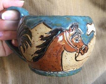 Cappaccino Mug of a Bay Horse