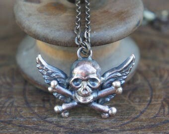Winged Skull and Cross Bones Memento Mori Goth French Brass Stamping Necklace Antique Vintage Style