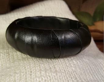 Beautiful black leather bracelet