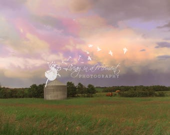 Rainbow Sky Digital Background