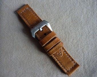 Watch 26/26 Brown Leather Bracelet - Handmade watch strap ammo pouch