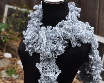 Light Gray Ruffle scarf crocheted by hand and made with love