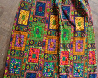 Vintage Vibrant Velvet Maxi Skirt // 60s 70s Wild Hippie Long Skirt