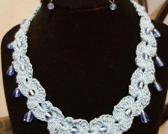 Sky Blue Tear Drop Crochet Set