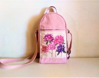Floral mini messenger bag, sling bag with flower pattern, crossbody bag floral, messenger bag women, gift for her