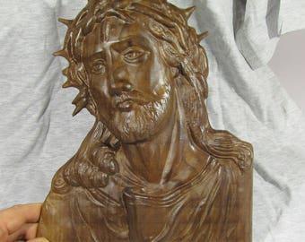 Wooden 3D Engraving Relief JEZUS Slovenia walnut wood