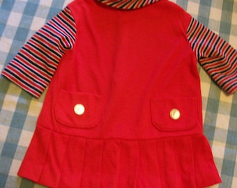 vintage child's  size1  red/white/blue knit dress with pleats.