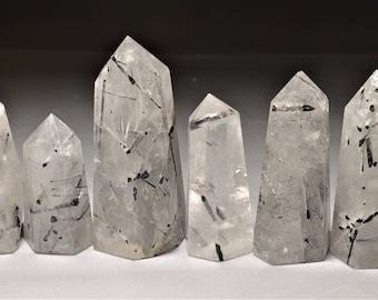 High quality Black Tourmalinated Tower/Black Rutilated Quartz/Smoky Quartz Crystal Obelisk/Black Rutilated Quartz Crystal/