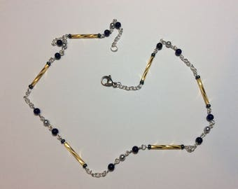 """Necklace for women """"Golden ankles and its lapis lazuli"""""""