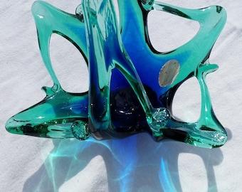 Murano Glassware, Italian Art, Glass Basket in Blues and Greens.