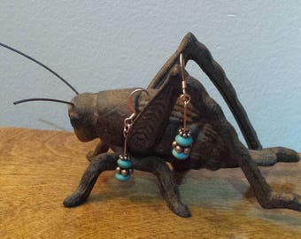 Magnesite and copper dangle earrings