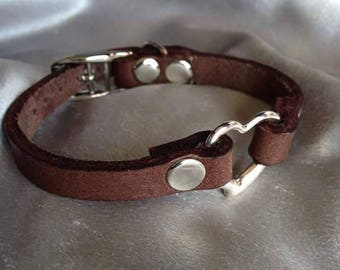 adorable heart sub/kitten/slave genuine leather bracelet
