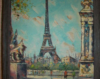 Artist Signed Oil Painting on Canvas - Paris, France Early 1900's
