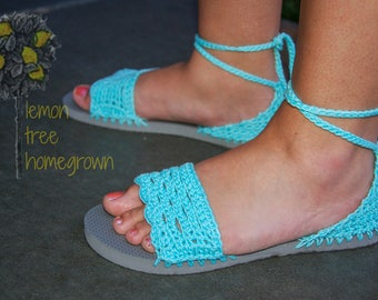 Crochet / Flip Flop Sole / Scallop Edge / Cotton Summer Sandal