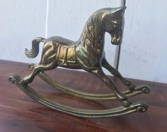 Brass Rockinghorse Statue