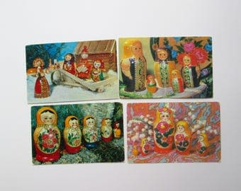 Vintage Soviet pocket calendar set of 4, Russian nesting dolls (matrioshka), 1970s, Soviet Souvenir, USSR
