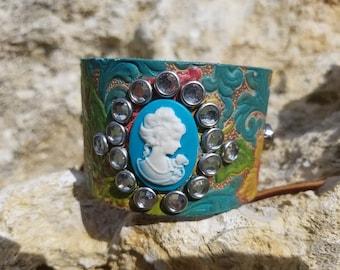Leather Cameo Corset tie cuff bracelet
