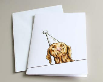 Birthday Card, Dog Card, Viszla Card, Viszla Illustration, Viszla Birthday