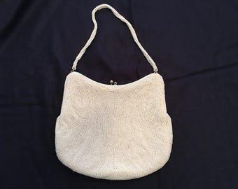 Walborg white beaded evening bag