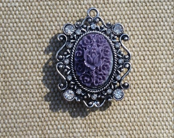 Purple Floral Cameo Magnet