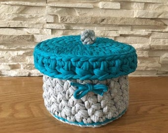 Grey and Teal  Storage Basket Crochet with lid