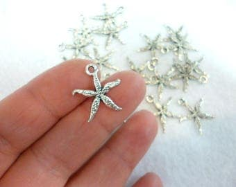 Small Silver Tone Charm Pendant/ Silver Charms/ small starfish of 18 mm pack 60 pcs